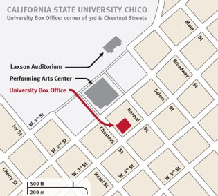 map of chico state showing the locations of Laxson Auditorium, the Performing Arts Center and the University Box Office